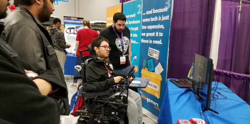 A man in a wheelchair playing a game