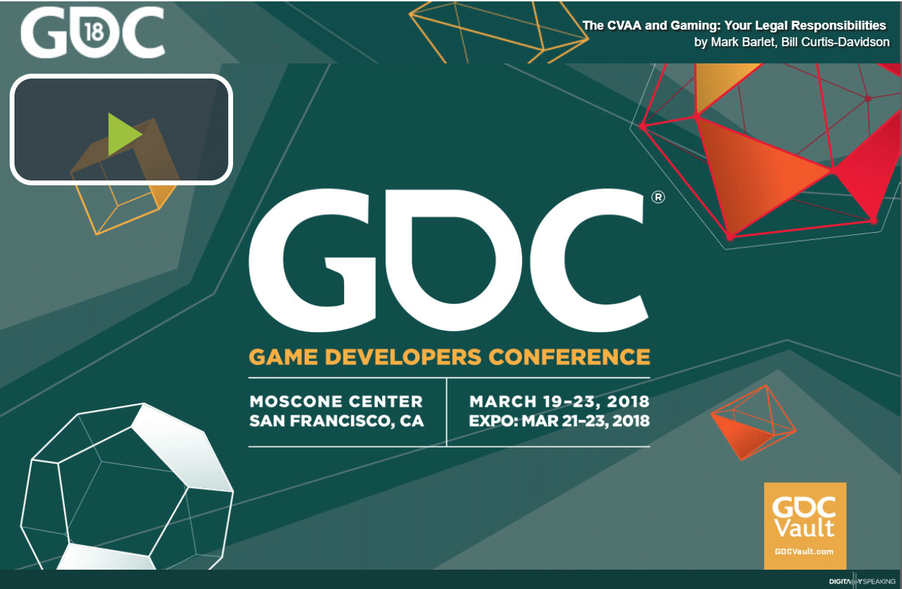 Title slide of GDC talk with date and time on it. Quite ugly.