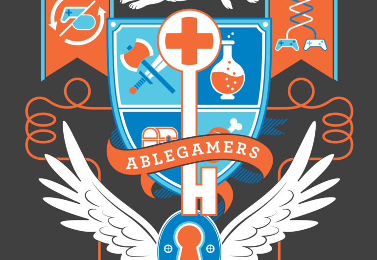 A crest like logo showing off various gaming items including a controller that looks like a PS4 controller and a controller that resembles the Xbox Adaptive Controller.