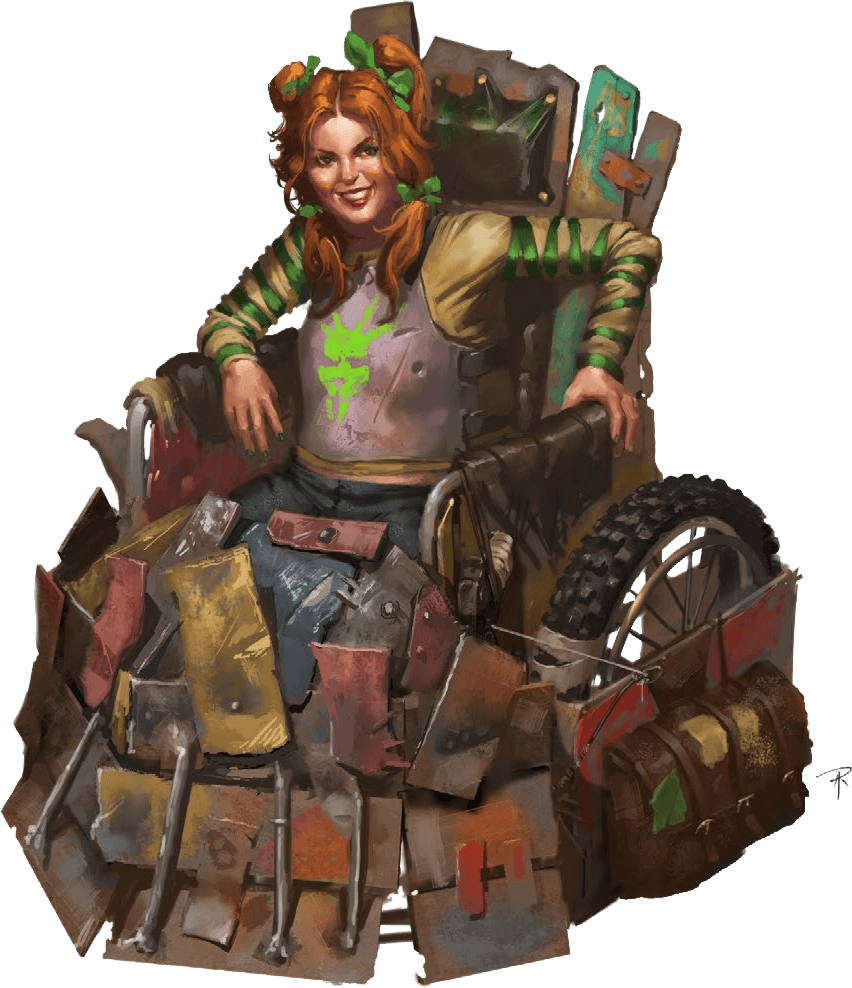 Rocket Rose from Dystopia Rising: Evolution. She is sitting in a wheelchair-like device that's plated with rusted metal panels on almost all sides, and a leather satchel on the armor plates next to her left wheel.