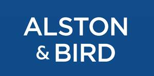 Blue Box with Alson & Bird in white text