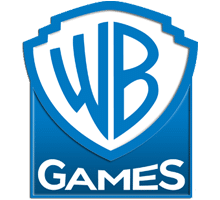 """WB Games Logo. Blue Shield with """"WB"""" and """"Games"""" under that."""